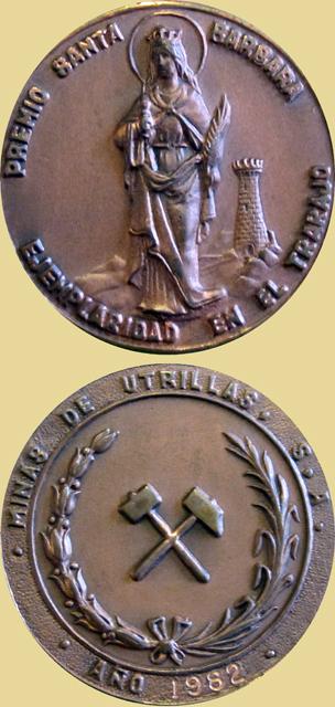 Medalla al Premio Santa Bárbara a la Ejemplaridad en el Trabajo de Minas de Utrillas, 1982