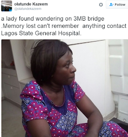 Photo: This lady was found wandering on 3rd mainland bridge yesterday