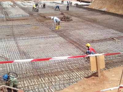 Construction of a raft foundation