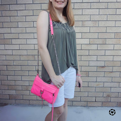 awayfromtheblue Instagram neon pink mini MAC bag with white bermuda denim shorts and olive tank