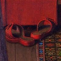Red shoes in Jan van Eyck's Arnolfini Portrait, belongs to Costanza Trenta, symbolizes her love for Giovanni Arnolfini