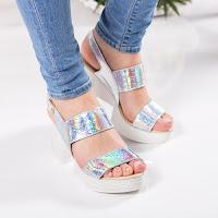 Sandale Piele Linares argintii cu toc gros • modlet