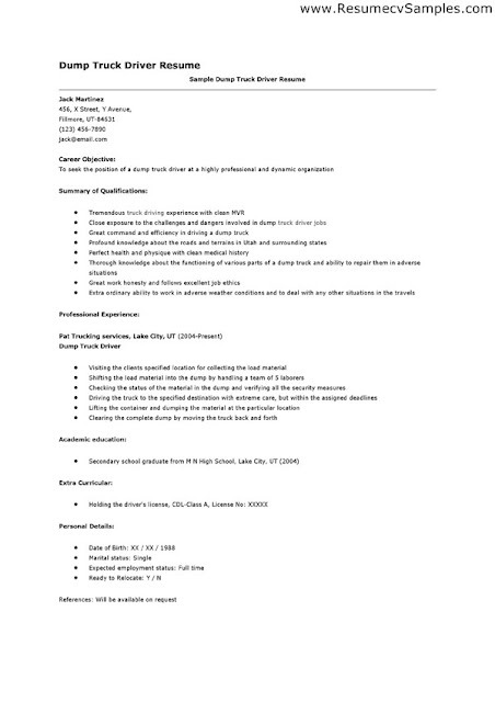 Courier Driver Resume Template. Truck Driver Resume Sample And