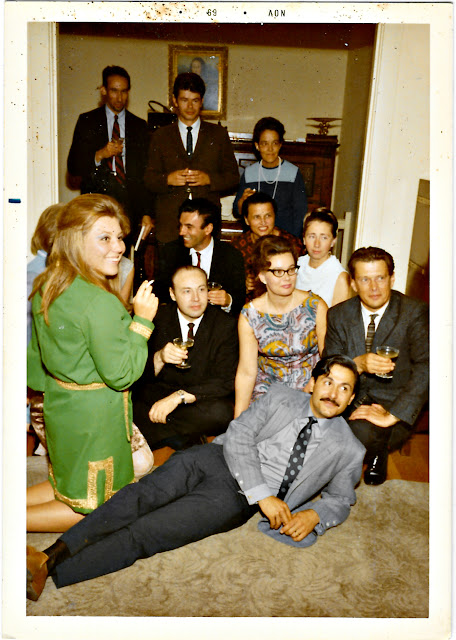 Vintage mystery photograph of a cocktail party in late 1960's San Francisco. Asya Zabelin, Gehrig Rennenkampf. George Tchikovani, Norair Norio Taschian