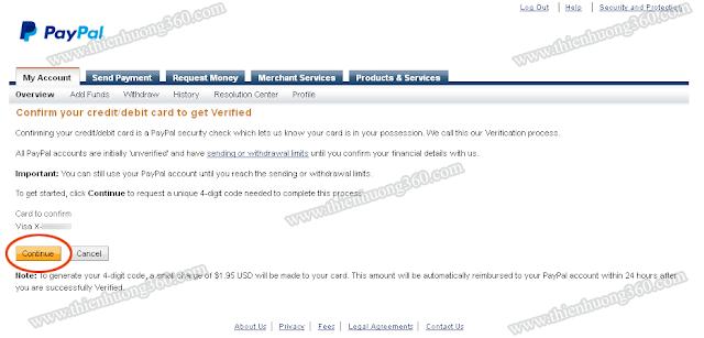 Chọn Continue để tiến hành xác thực tài khoản Paypal