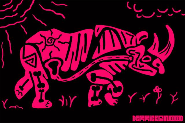 rhino art pink black surreal abstract