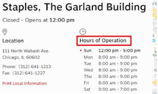 Staples Hours of Operations