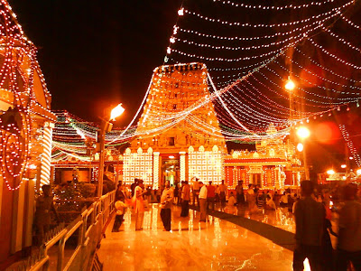 Kudroli Temple decorated for the ten day Dasara festival celebrations