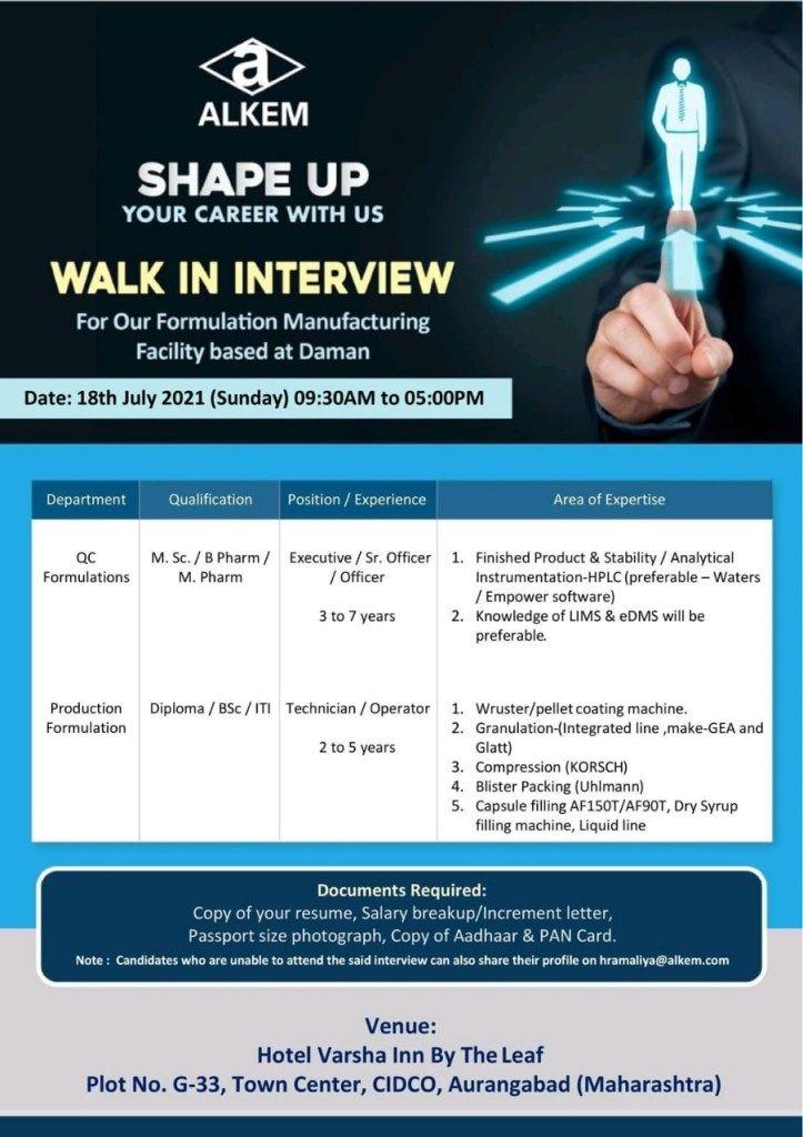 Alkem Laboratories Ltd Recruitment for B.Pharm, M.Pharm, M.Sc, B.Sc, Diploma, ITI  Experienced Candidates | Walk In Interview
