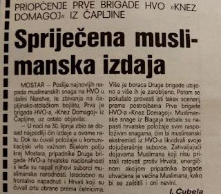 30. lipnja 1993. Bijelo Polje (Mostar); Kako su Muslimani izdali svoje suborce iz HVO-a
