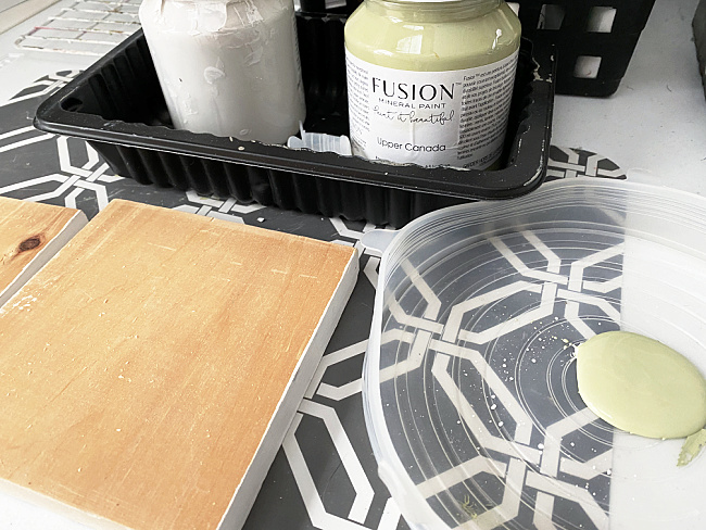 wooden boards painted with fusion mineral paint