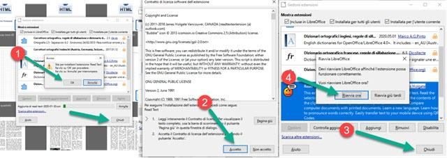 installazione estensione read text libreoffice