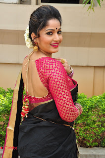 Actress Madhavi Latha Stills in Saree at Anushtanam Movie Audio Launch 0051