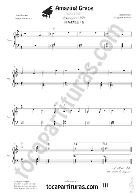 Amazing Grace Partitura Fácil de Piano en Do Mayor Easy Sheet Music for Piano in C