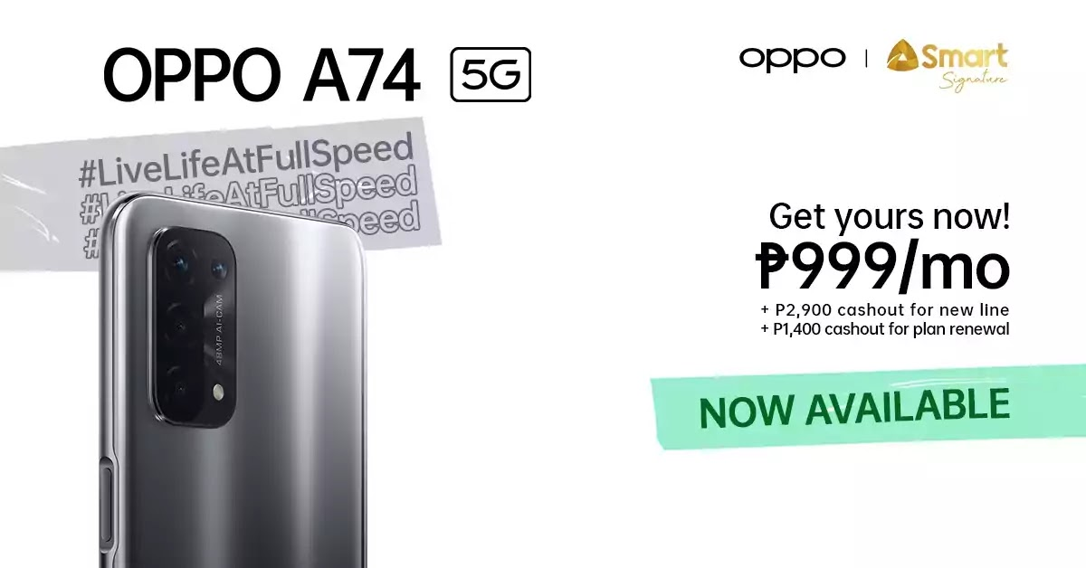 OPPO A74 5G on Smart's Signature Plan