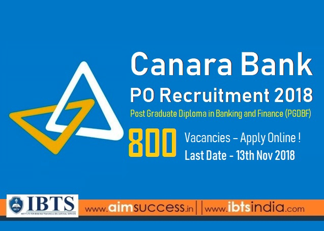 Canara Bank PO Recruitment 2018 Notification Out  800 vacancies – Apply Online Now!