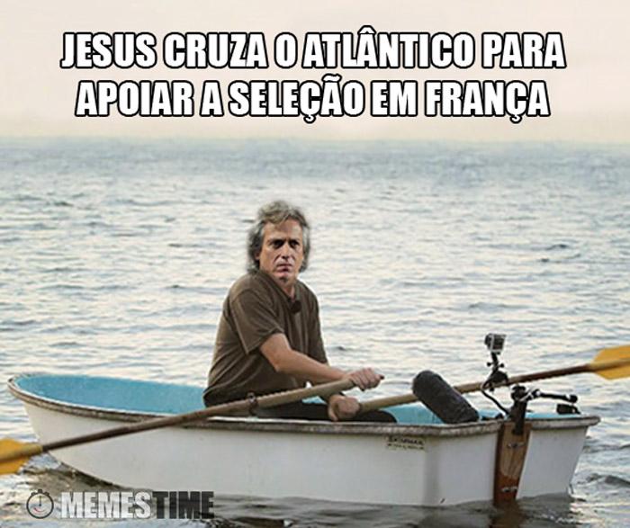 Meme Jorge Jesus Seleção Nacional – Jesus cruza o Atlântico para apoiar a seleção em França.