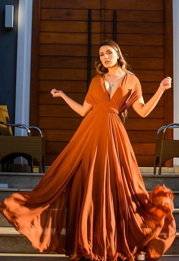 vestido longo terracota multiformas