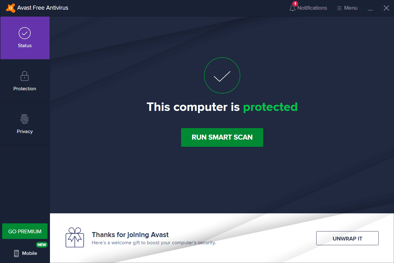 Avast Free Antivirus Main Interface Screenshot