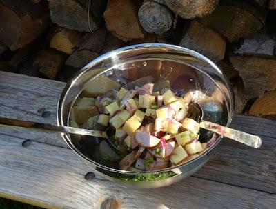 Bayerischer Käse-Wurst-Salat mit roten Zwiebeln, Gürkchen und Rettich