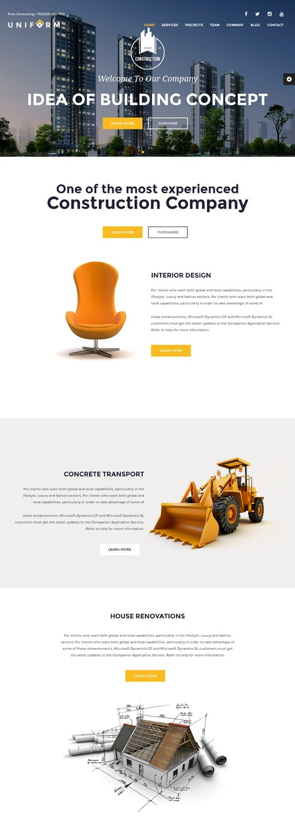 Uniform Building and Construction HTML Template