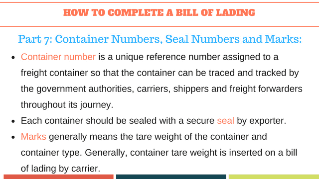 How to complete a bill of lading | Container Number