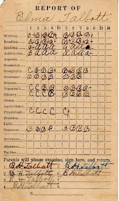 Report Card of Elma Talbott ~ LisaLisson.com