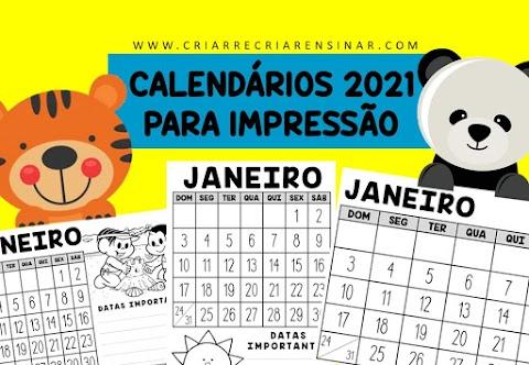 CALENDÁRIO 2021 PARA IMPRESSÃO