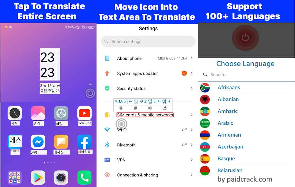Translate entire screen with just one touch. Translate games, Translate on other apps