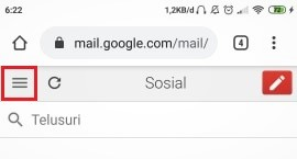 lokasi ikon tiga titik Gmail