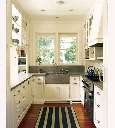 Accents Of Color, Pattern, And/or Texture, Are Great Ways To Add Touches Of  Your Personal Taste To A Small Galley Kitchen. This One Resembles English  Style.