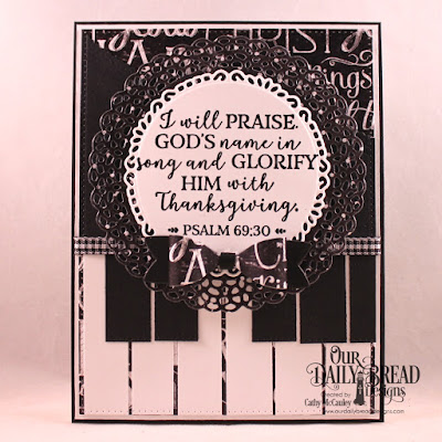 Our Daily Bread Designs Stamp Set: God Verses 2, Paper Collection: Chalkboard, Custom Dies: Pierced Rectangles, Leafy Edged Borders, Fancy Circles, Small Bow