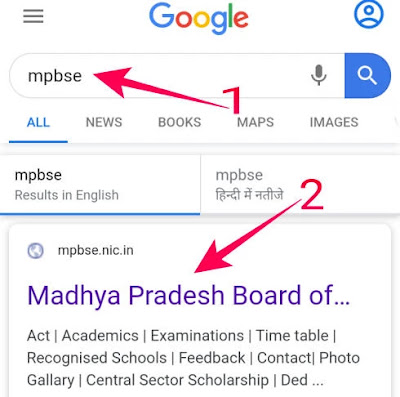 browser me mpbse search kar site par jaye