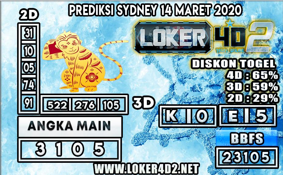 PREDIKSI TOGEL SYDNEY LOKER4D2 14 MARET 2020