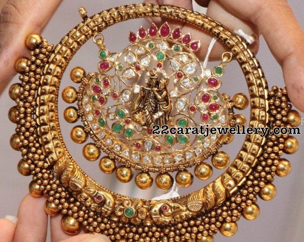 Antique Work Lakshmi Pendants Bangles
