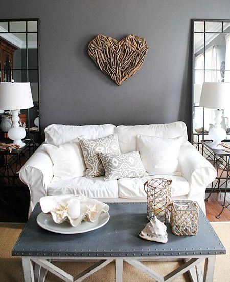 Coastal Living Room with a Gray Color Scheme - Coastal ...