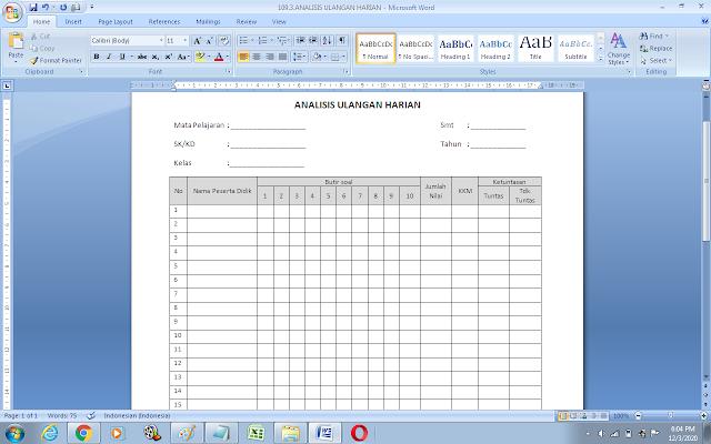 Contoh format analisis ulangan harian siswa