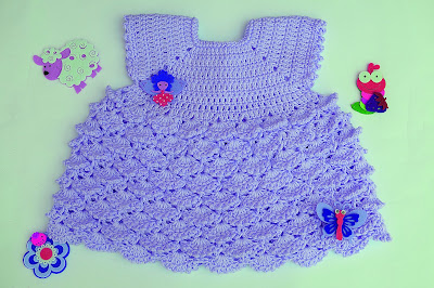 6 - Crochet Imagenes Vestido con abanicos a relieve por Majovel Crochet