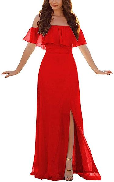 Good Quality Red Chiffon Bridesmaid Dresses