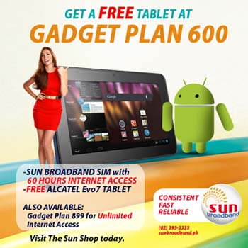 Get Alcatel Evo7 Tablet Free From Sun Gadget Plan 600 and Plan 899 plus a Sun Broadband Sim