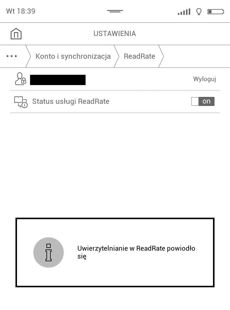 PocketBook Touch Lux 4 – komunikat o udanym logowaniu do aplikacji ReadRate
