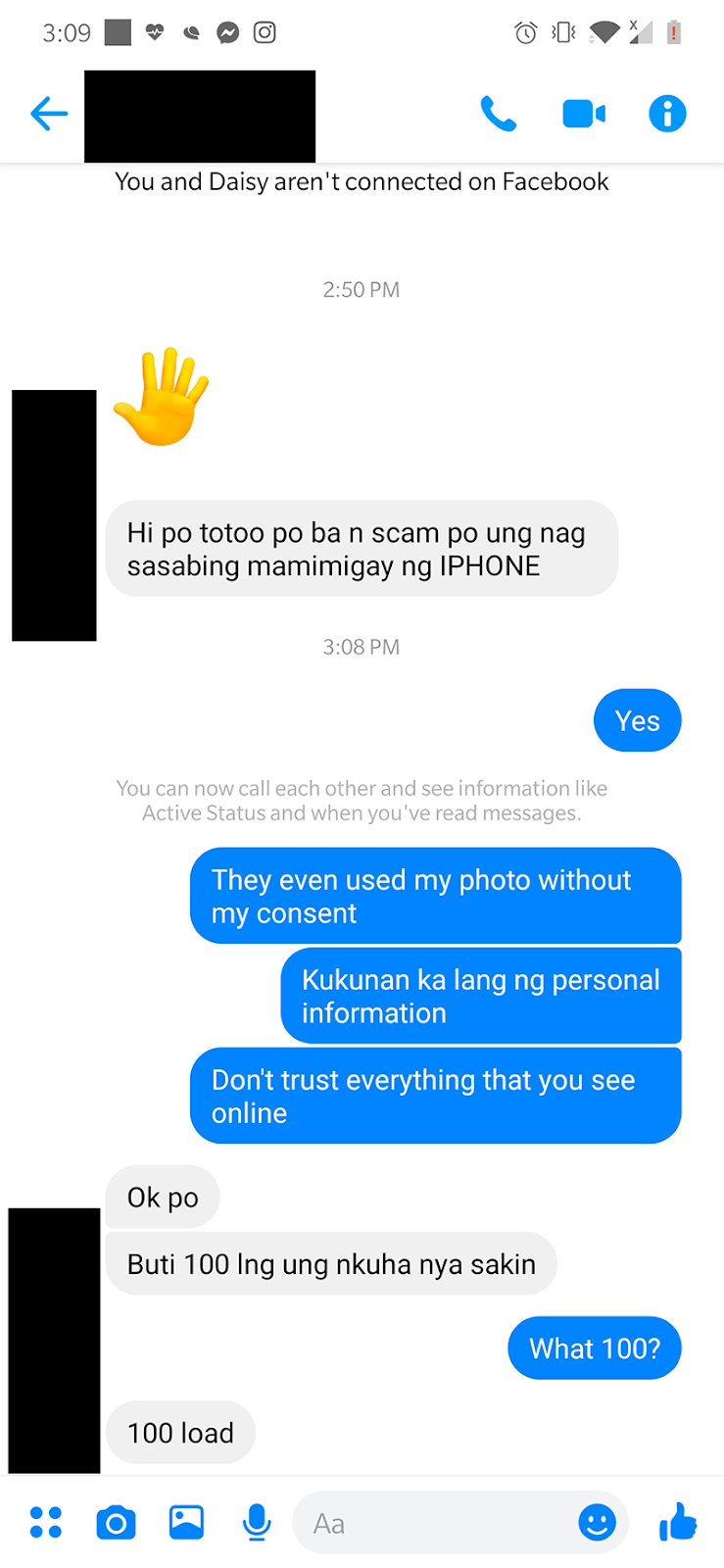 A Facebook user we interviewed who got scammed