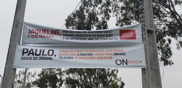 VIRALIZOU: Faixas espalhadas nas ruas eram campanha publicitária da On Mais Telecom