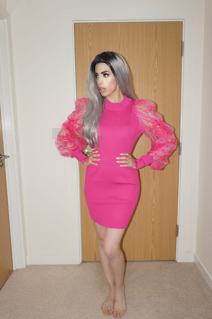 Femme Luxe Pink Ribbed Floral Mesh Bodycon Mini Dress in model Saoirse.