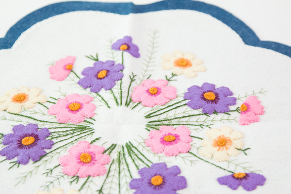 Cosmos Centerpiece and Candle Mat FREE printable instructions @craftsavvy #craftwarehouse #embroidery #sewing #diy