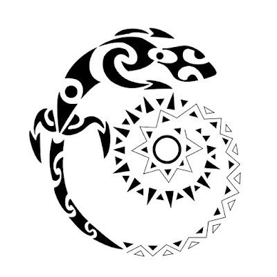 dibujo de lagarto maori en forma de espiral