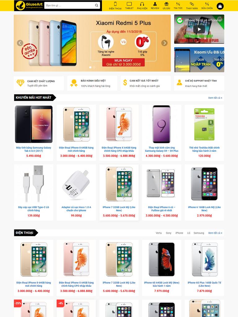 Mẫu website bán điện thoại đẹp giống TGDĐ - Ảnh 1