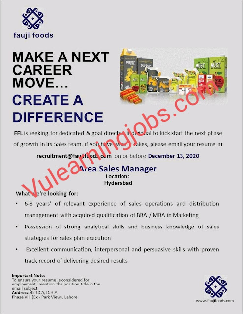 Fauji Foods Limited Jobs 2020 For Area Sales Manager Latest