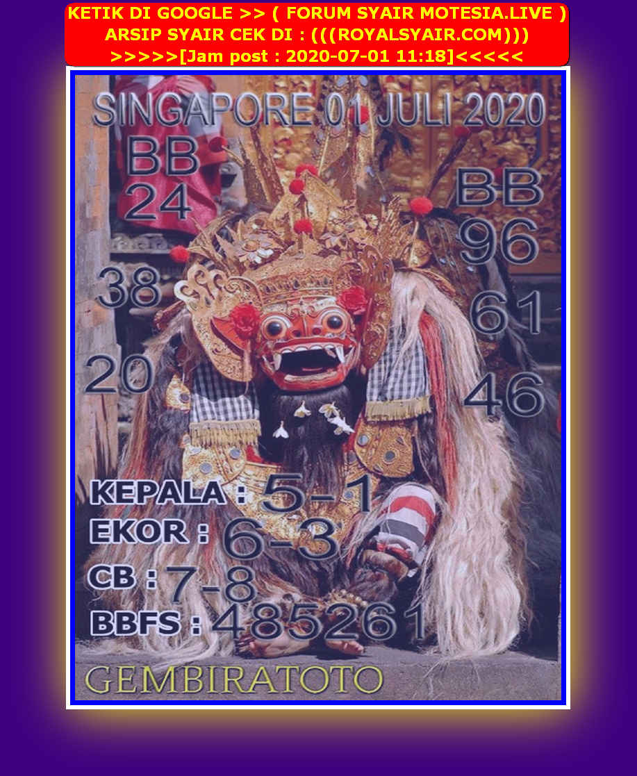 Kode syair Singapore Rabu 1 Juli 2020 138