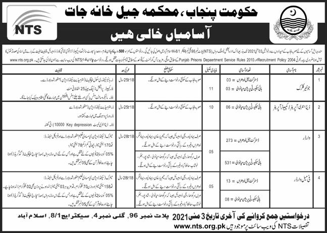 Punjab Prison Department Jobs 2021 - Jail Police Jobs 2021 Punjab - Jail Warder Jobs 2021 - Punjab Police Jail Warder Jobs 2021